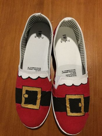 Custom painted Santa shoes