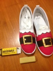 Beeswax protection for Christmas shoes