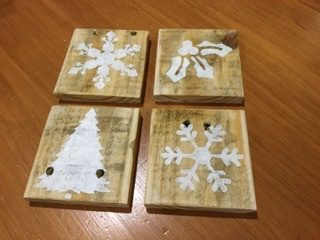 Recycled wood Christmas coasters